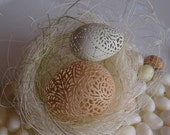 Hand Carved Victorian Lace Egg Pair - Banty Chicken, and Quail