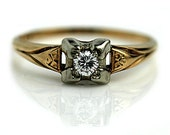 Vintage Diamond Ring 1940's Antique Two Tone Gold .15ctw Vintage 14k Gold Stacking Ring Antique Anniversary Ring 6.25!