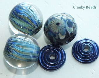 "Handmade Lampwork beads ""Stripes"" - Creeky Beads SRA"