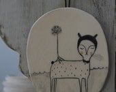 Deer's dream - hanging decor ceramic tile, drawing on a clay plate