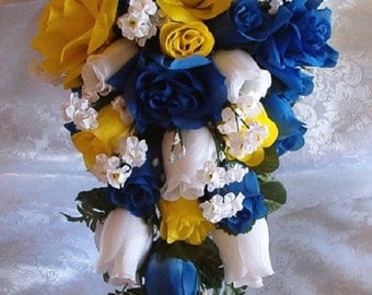 Horizon Wedding Bouquet 21pc Royal Blue White Yellow Silk Flowers Bridal Cascade Roses