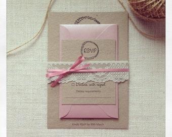 Wedding invitation Rustic Lace wedding invitation sample