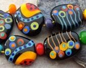 Happy Friends - Handmade Lampwork Glass Bead Set (13) by Anne Schelling, SRA