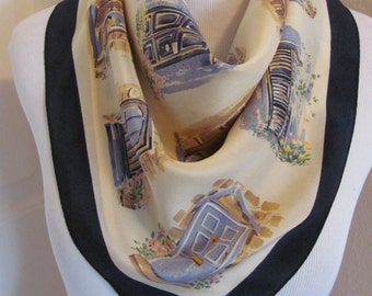 "Talbots // Beautiful Black Ivory Silk Scarf  // 21"" Inch 54cm Square // Best of the Best"