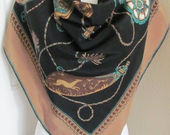 "Etyam // Brown Black Silk Scarf // 34"" Inch 90cm Square // Best of the Best"