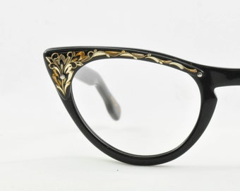 Vintage Cat Eye Glasses, NOS, Black with Gold Floral Etched Brow, Universal, 1950s, 1960s