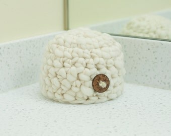 Newborn Boy Button Beanie Natural Ivory READY TO SHIP Hat