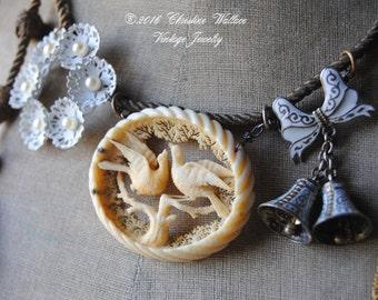 LOVE DOVES--Antique Carved Victorian Bone Dove Brooch Enamel Bells Military Bullion Tassel Gemstone NECKLACE