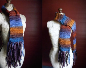 Misty Mountain Scarf. Handmade Bohochic Fringe Scarf Sari Silk Unisex Fall & Winter Fashion Neck Wrap. Misty Blue Ochre Plum Rust Red Scarf