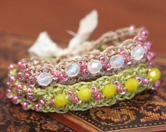 CROCHET PATTERN -Crochet Bracelet Pattern, Beaded Jewelry Pattern, Crochet Jewelry Pattern- Instant Digital Download (56)