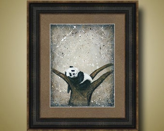PRINT or GICLEE Reproduction -- Baby Panda, Nursery Art, Neutral Colors - 12 x 16 Naptime Panda by Britt Hallowell