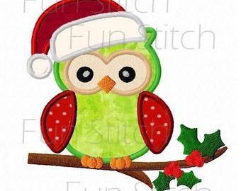 Christmas owl applique machine embroidery design digital download
