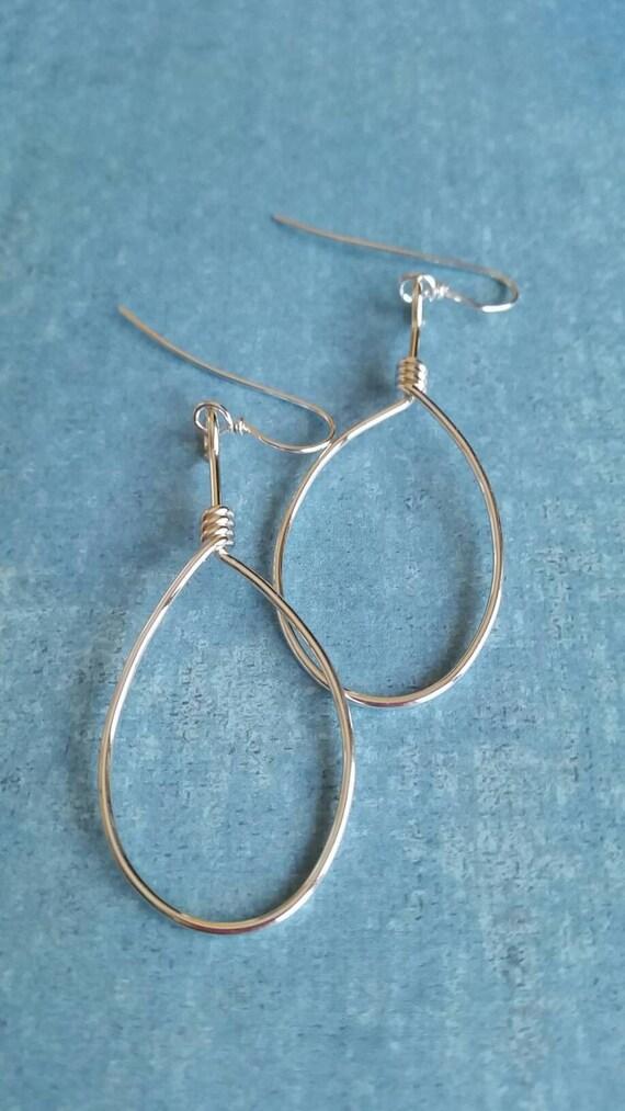 Simple silver hoop earrings, Sterling Silver Hoops - Large, Boho, Hobo, Earrings, Simple, round, circles, dmalia designs