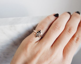 Little finger ring with a letter-sterling silver- free shipping-