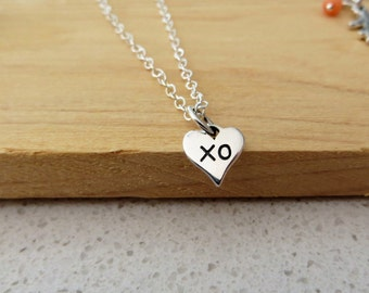 Tiny heart with xo hug and kiss necklace, bff gift, love, nymetals, flower girl gift