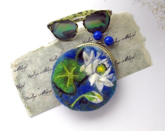 Wet Felted Water lilies FLOWER coin purse Ready to Ship with bag frame metal closure gift for her