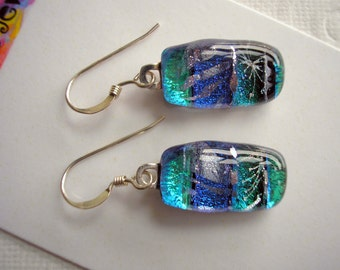 Earrings Dichroic Fused Glass Sparkling Blues .925 Sterling Earwires Pierced Dangles Aqua Ultramarine Cobalt Underwater Color Jewelry Dichro