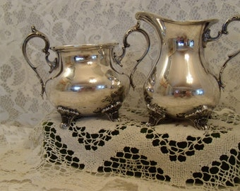 Gorham Silver Plate Vintage Footed Sugar and Creamer