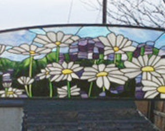 "Daisy and Lavender Transom -13.75"" x 87.25""--Stained Glass Window Panel"