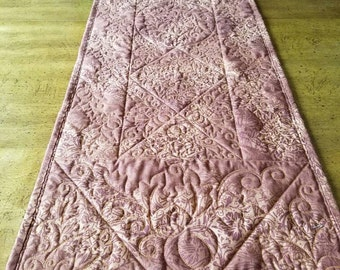 Autumn Quilted Table Runner with Pumpkins and Leaves