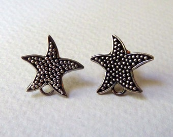 Sterling Silver Starfish Post Earrings with Loop - Starfish Stud Earrings with Loop - Ear Nuts Included - Qty 1 Pair