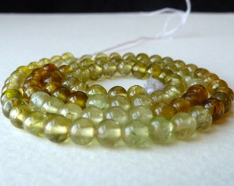 Grossular Green Garnet Gemstone Beads - 5mm Round -Multi Color Smooth Translucent Gemstone Beads - High Quality - 1/2 strand