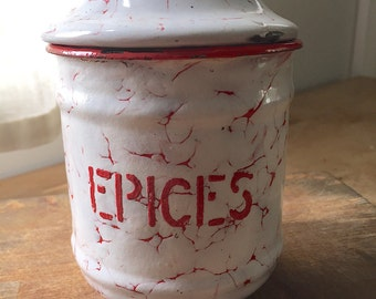 Vintage French Enamelware Epice (Spice) Cannister