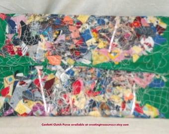 Clutch Confetti Purse on Green Felt