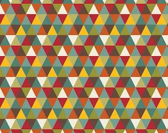 Teal Mustard Red and Brown Geometric Triangle Jersey Knit Fabric, Giraffe Crossing 2 By The Riley Blake Designers, Diamond in Multi, 1 Yard