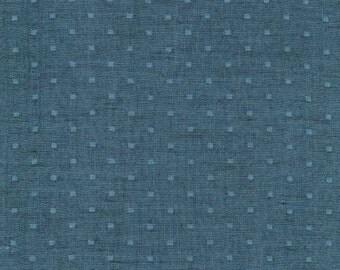 Marine Blue Dobby Dot Double Gauze Chambray, Double Gauze Chambray Collection by Robert Kaufman, 1 Yard