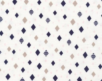 White Navy Grey and Pink Geometric Diamond Organic Cotton Interlock Knit, Cloud 9 Knits, 1 Yard