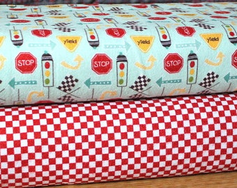 Aqua Red and Yellow Traffic Sign and Red and White Checked Flannel Blanket Bundle, 2 Yards
