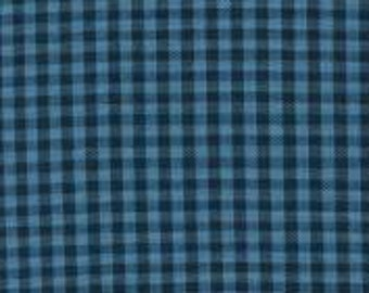 Blue and Navy Indigo Plaid Checked Gingham, Robert Kaufman Carolina Gingham, 1 Yard