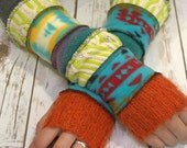 Upcycled Sweater Mittens- Womens Fingerless Gloves-Winter Gloves-Recycled Mittens-Hippie Fingerless Gloves- Bohemian Gloves-Warm Gloves