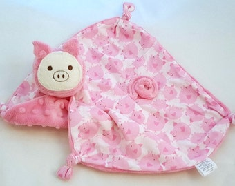 Pig Security Blanket, Animal Blanket Doll, Minky and Cotton Baby Blanket, Lovey for a Baby Girl, Stuffed Animal, Personalized Gift, Baby