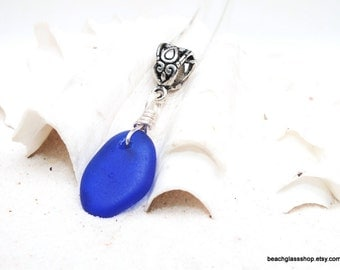 Sterling Cobalt Blue Sea Glass Necklace - Lake Erie Jewelry - Mermaid Tears - FREE Shipping inside the United States