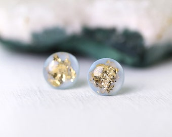 baby blue and gold leaf and glitter post earrings on sterling silver posts