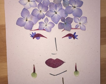 Lady Face made with Real PRESSED FLOWERS, Not a Print