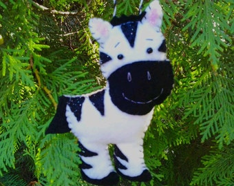 Zigzag Zebra Felt Ornament DIY Mobile Safari Nursery Decor