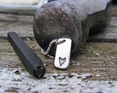 Heart Imprint Necklace, Sterling Silver Heart Pendant, Hand Stamped Heart Necklace, Charm Necklace, Simple Necklace, Minimalist Necklace