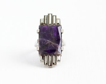 Vintage Art Deco Sterling Silver Amethyst & Marcasite Ring - 1920s Size 3 3/4 Purple Gemstone Statement February Birthstone Flapper Jewelry