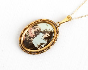 Vintage Art Deco Photographic Pendant Necklace - 1930s 1940s WWII Germany Old Stock Gold Filled Historical Celluloid Couple Picture Jewelry