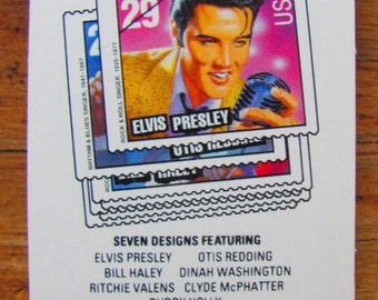 Heartbreak Hotel 20 Vintage UNused US RnB Rock and Roll Postage Stamps 29c Booklet Elvis Presley Otis Redding Rhythm and Blues Buddy Holly