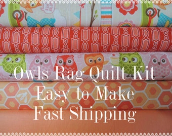 Owls Fabric, by Riley Blake, Designer Rag Quilt Kit,  Easy to Make, Personalized, Bin C