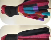 Midnight Sonnet - Short Corduroy Patchwork Skirt, Unique Bohemian Hippie skirt, One of a Kind, Barefoot Modiste handmade, Ideal for - Medium