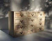 12 Drawer Whitewashed Wood Library Card Catalog Cabinet / Handmade Homemade / Vintage Inspired Library Cabinet / Storage Organization / WOW