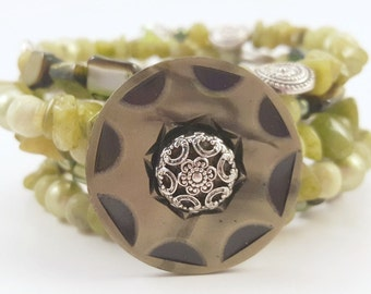 Green Goddess - Coil Wrap Mixed Media Bracelet with Vintage Cellulose Art Deco Buttom