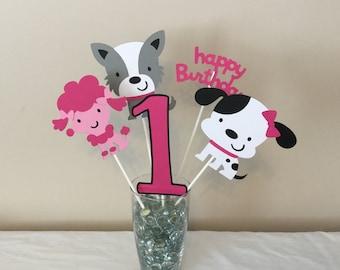 5 piece Pink Puppy Dog Centerpieces Puppy Dogs