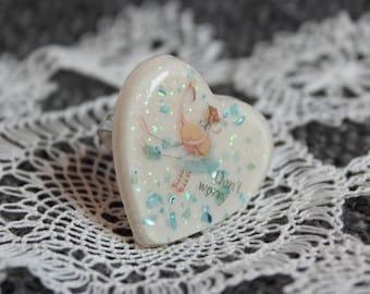 Cute Alice in Wonderland Girl Heart Ring