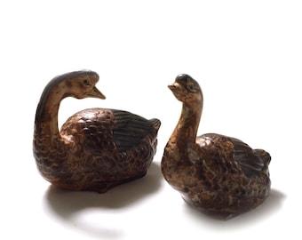 Vintage Pair 2 Porcelain Duck Geese Goose Figurines Japan